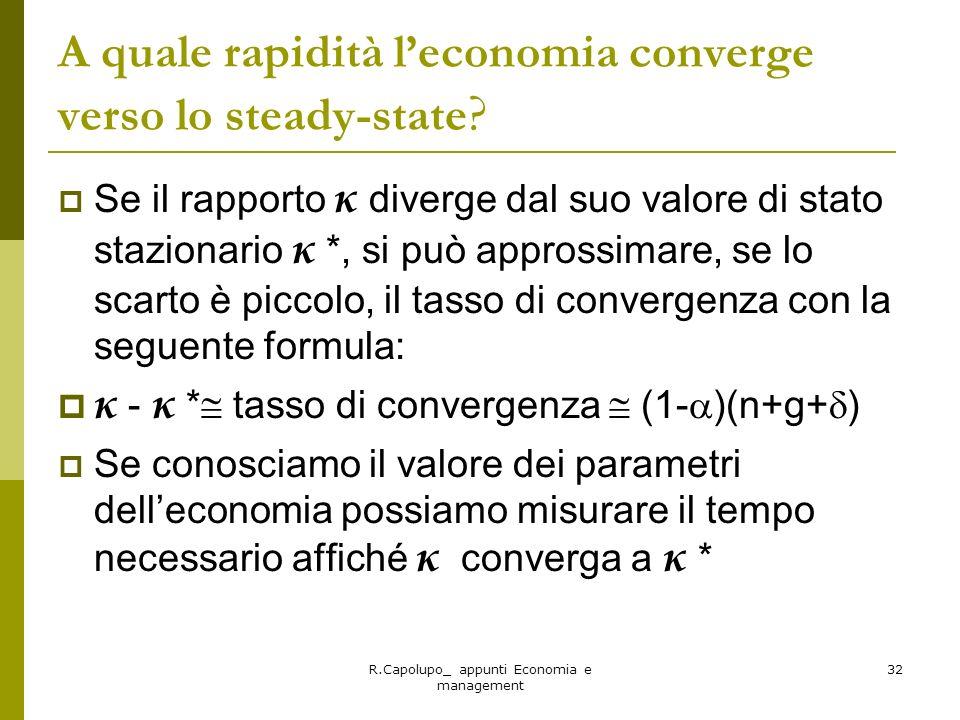 A quale rapidità l'economia converge verso lo steady-state