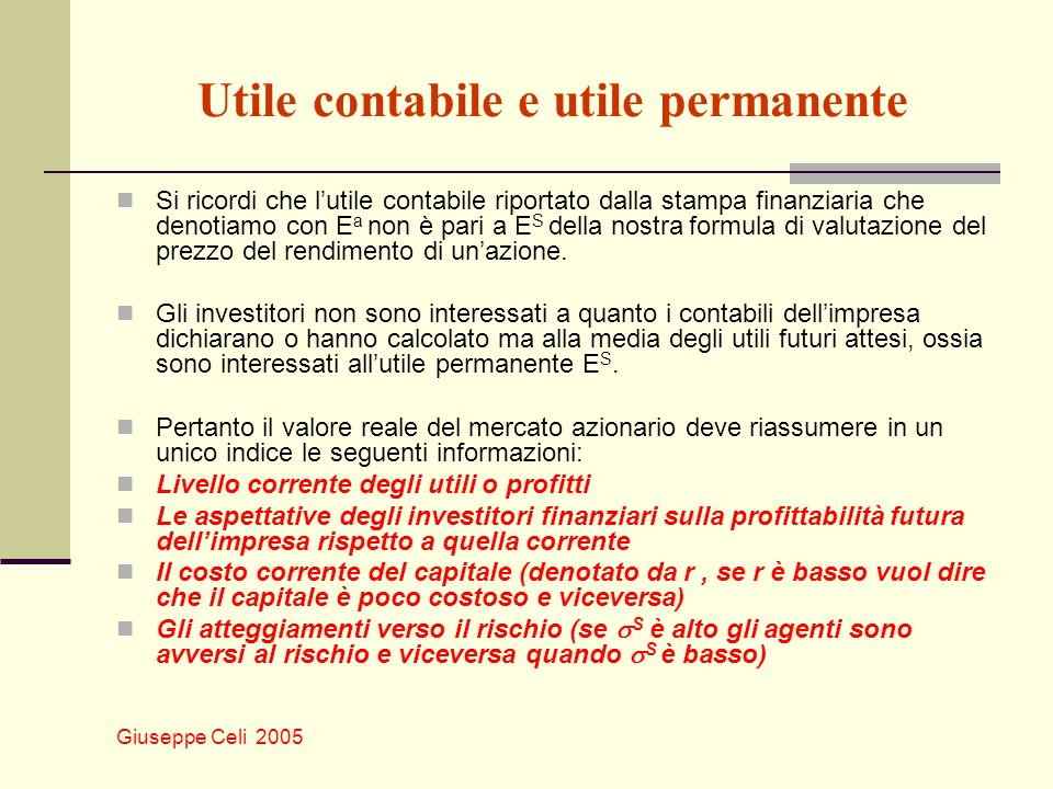 Utile contabile e utile permanente