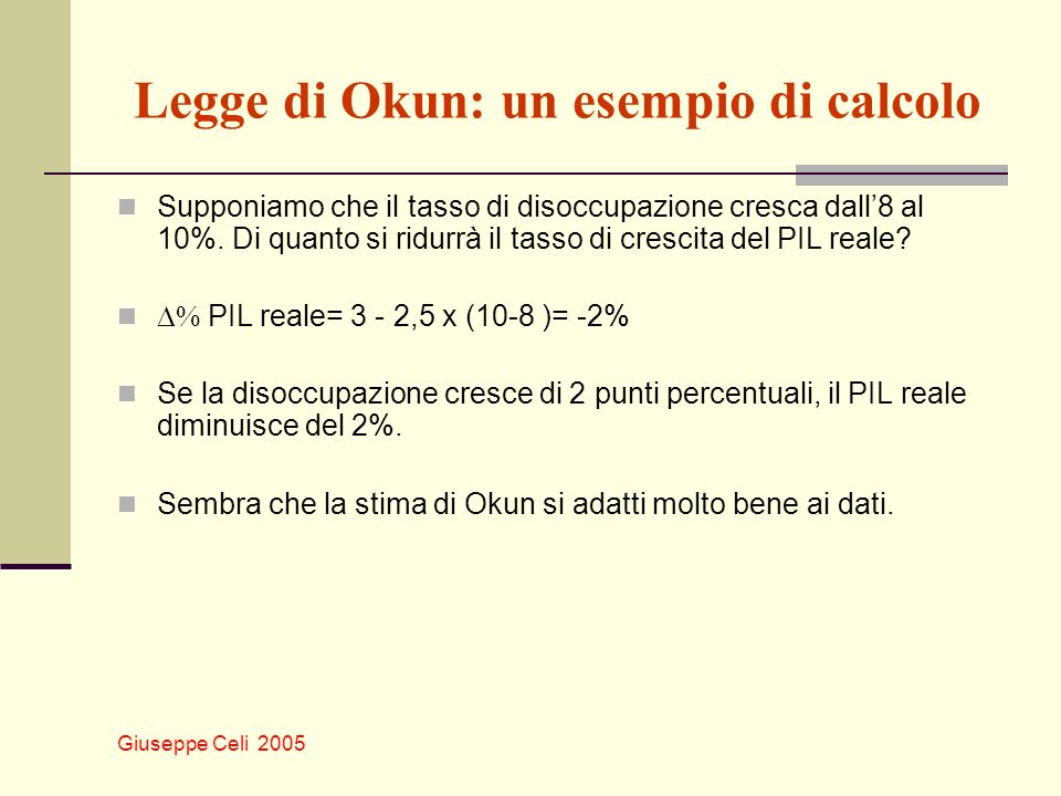 Legge di Okun: un esempio di calcolo