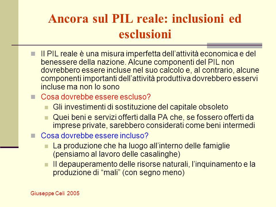 Ancora sul PIL reale: inclusioni ed esclusioni