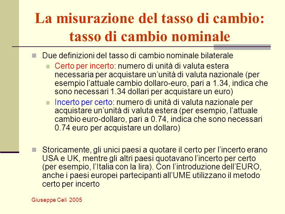 La misurazione del tasso di cambio: tasso di cambio nominale