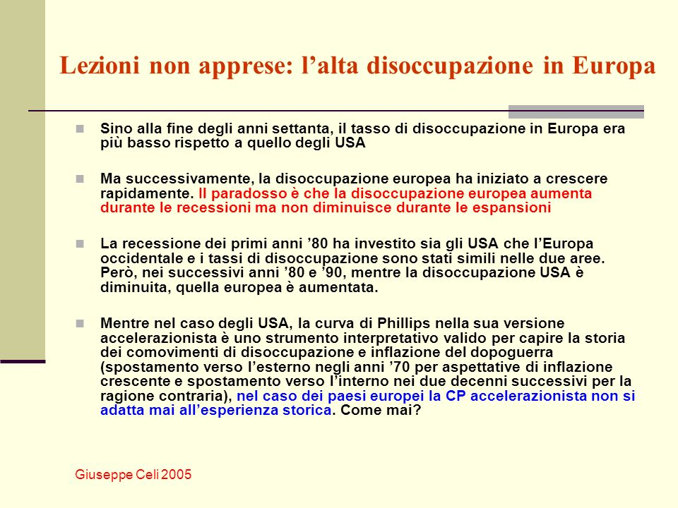 Lezioni non apprese: l'alta disoccupazione in Europa