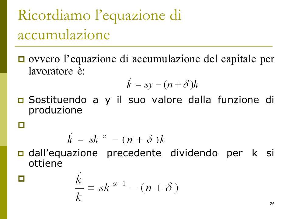 Ricordiamo l'equazione di accumulazione