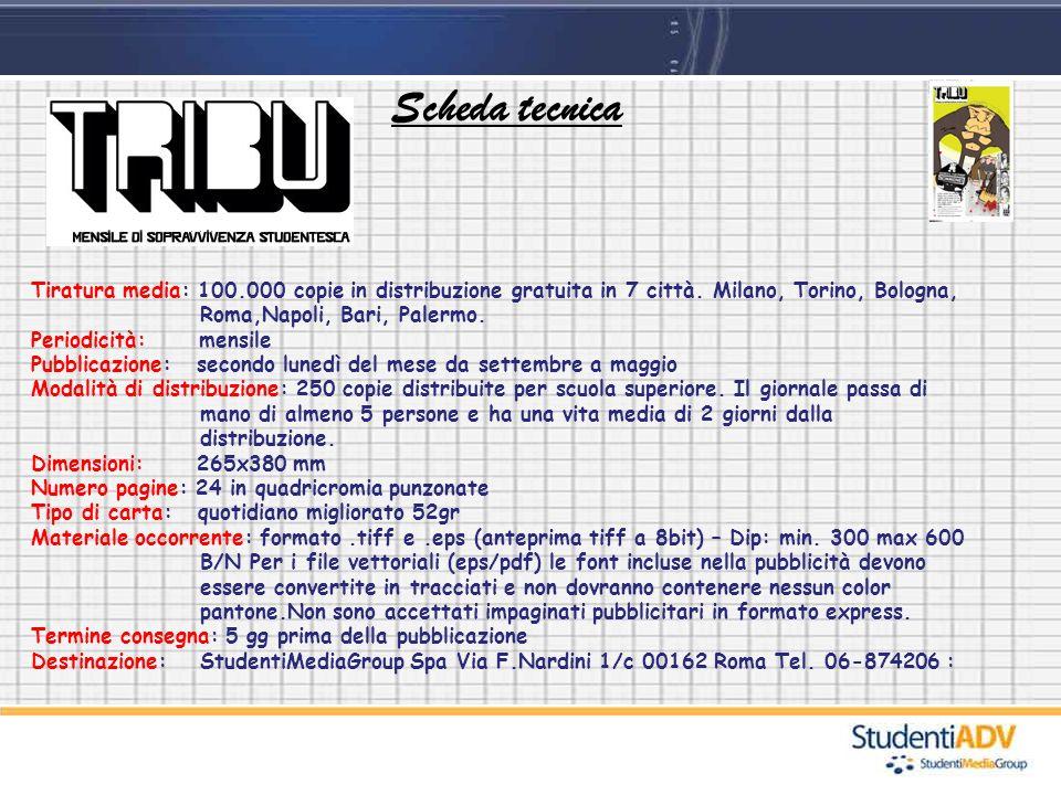 Scheda tecnica Tiratura media: 100.000 copie in distribuzione gratuita in 7 città. Milano, Torino, Bologna, Roma,Napoli, Bari, Palermo.