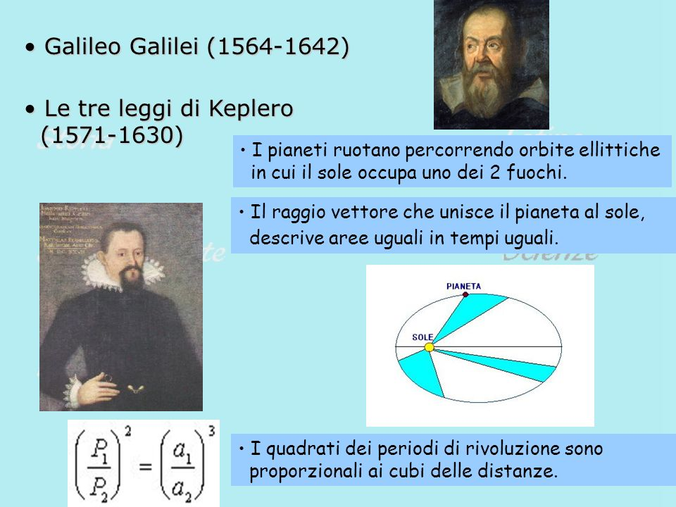 Galileo Galilei (1564-1642) Le tre leggi di Keplero (1571-1630)