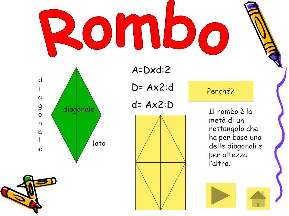 Rombo A=Dxd:2 D= Ax2:d d= Ax2:D diagonale Perché diagonale