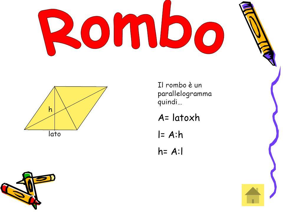 Rombo A= latoxh l= A:h h= A:l Il rombo è un parallelogramma quindi… h