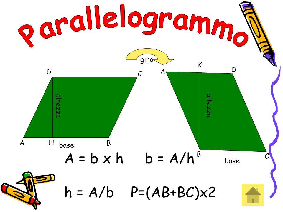 Parallelogrammo A = b x h b = A/h h = A/b P=(AB+BC)x2 giro K D D A C