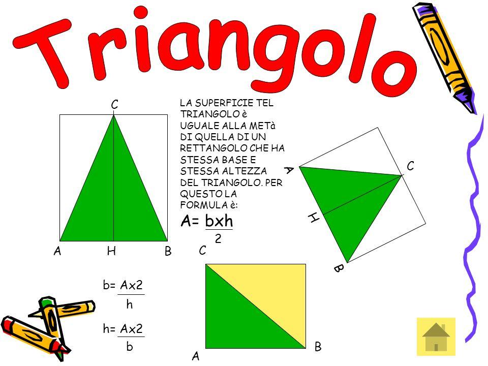 Triangolo C A B H A B H C 2 C b= Ax2 h= Ax2 h b B A