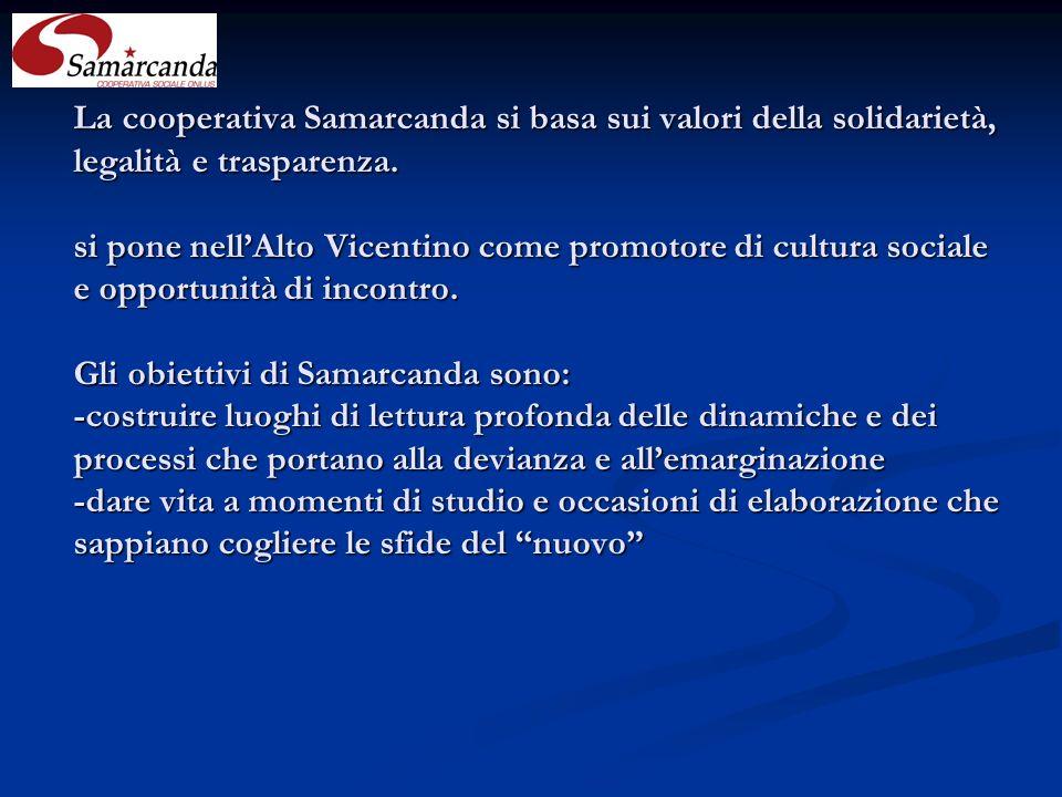 La cooperativa Samarcanda si basa sui valori della solidarietà, legalità e trasparenza.