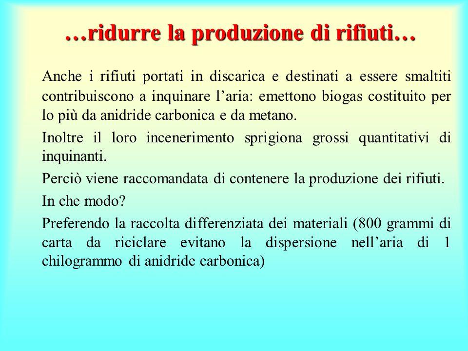 …ridurre la produzione di rifiuti…