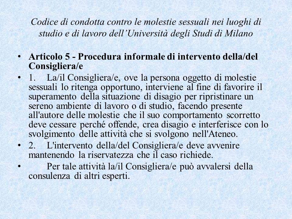 Codice di condotta contro le molestie sessuali nei luoghi di studio e di lavoro dell'Università degli Studi di Milano