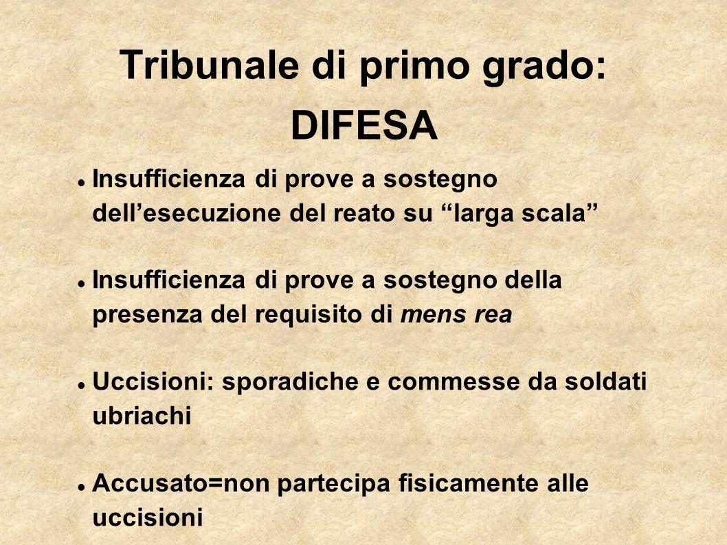 Tribunale di primo grado: DIFESA