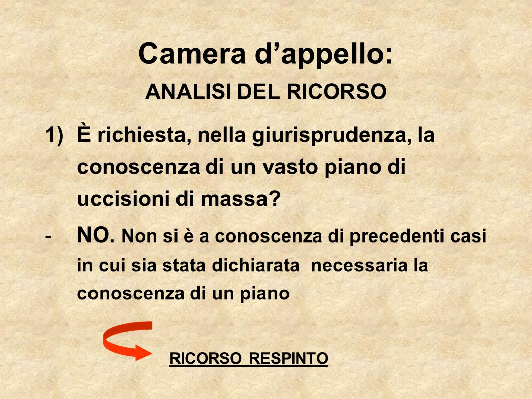 Camera d'appello: ANALISI DEL RICORSO