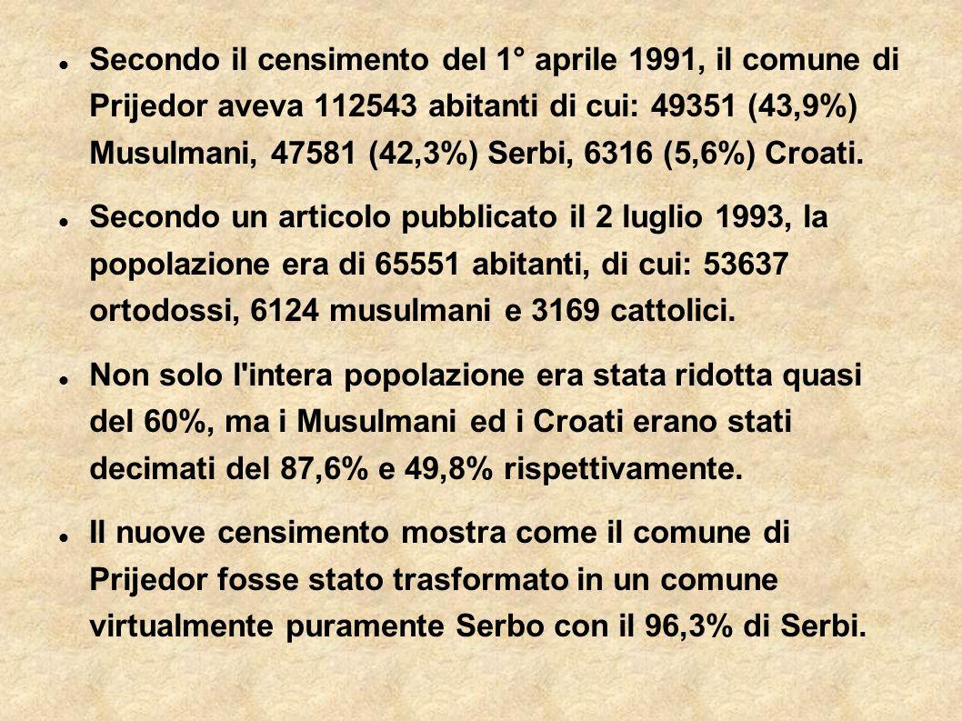 Secondo il censimento del 1° aprile 1991, il comune di Prijedor aveva 112543 abitanti di cui: 49351 (43,9%) Musulmani, 47581 (42,3%) Serbi, 6316 (5,6%) Croati.