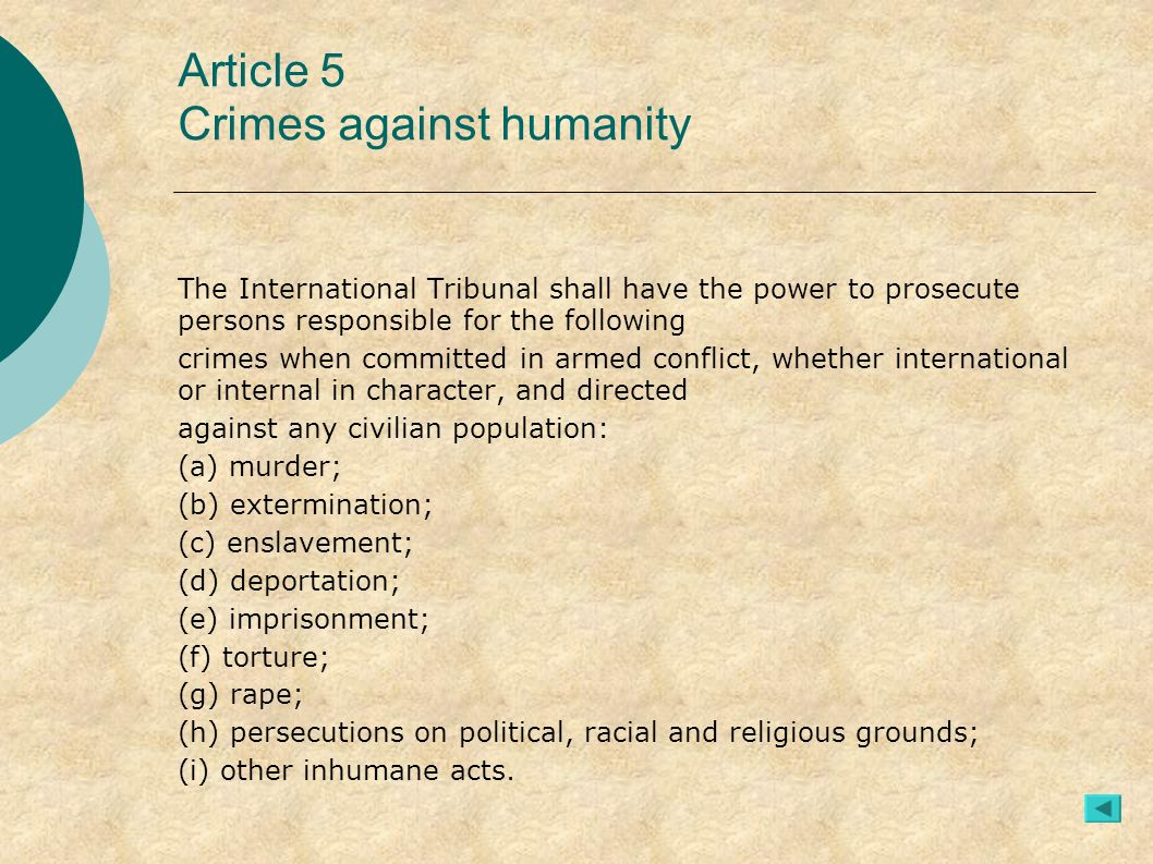 Article 5 Crimes against humanity