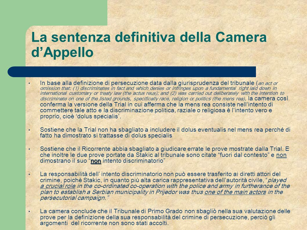 La sentenza definitiva della Camera d'Appello