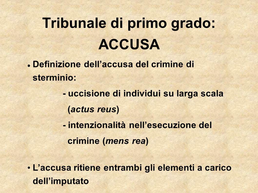 Tribunale di primo grado: ACCUSA