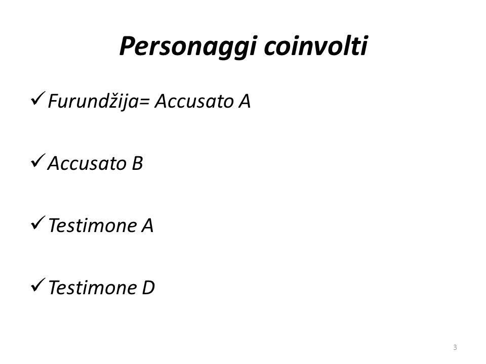 Personaggi coinvolti Furundžija= Accusato A Accusato B Testimone A