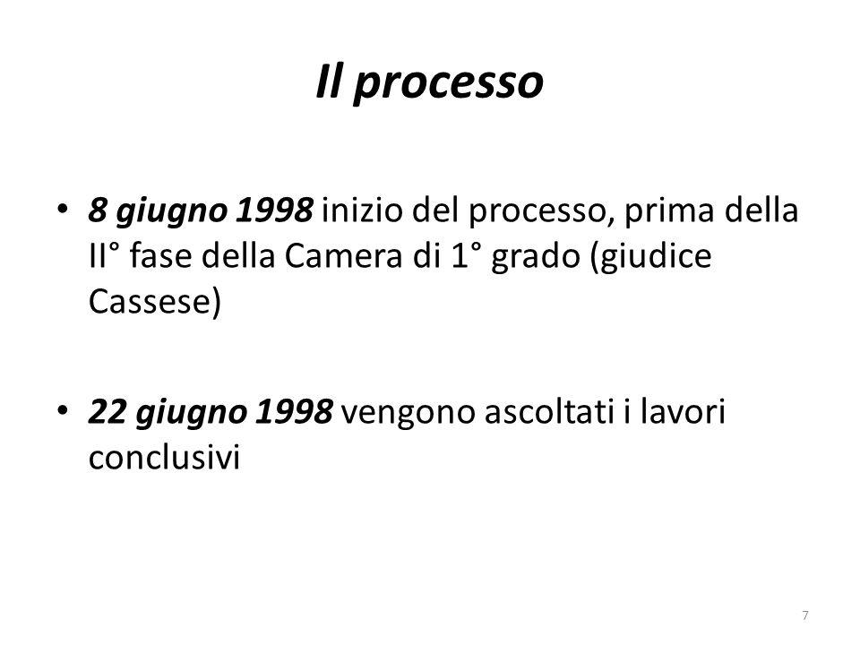 Il processo 8 giugno 1998 inizio del processo, prima della II° fase della Camera di 1° grado (giudice Cassese)