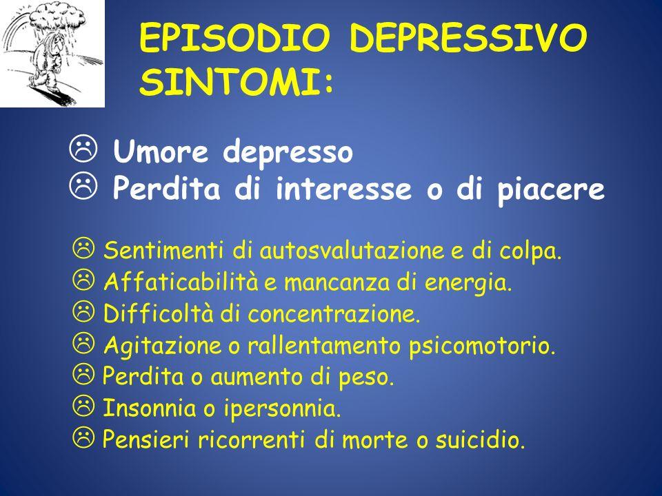 EPISODIO DEPRESSIVO SINTOMI: