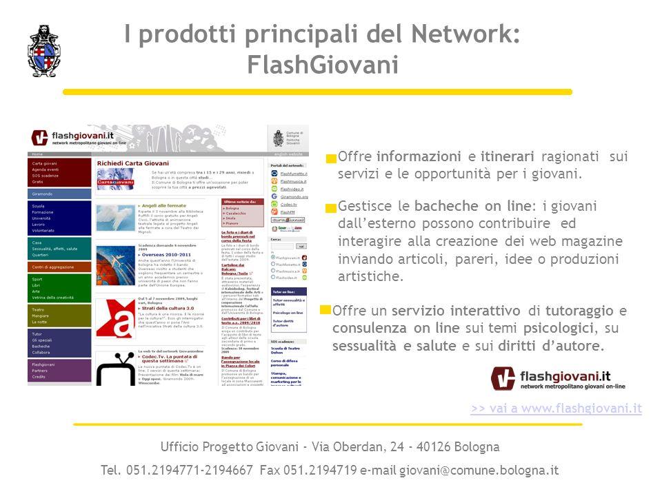 I prodotti principali del Network: FlashGiovani