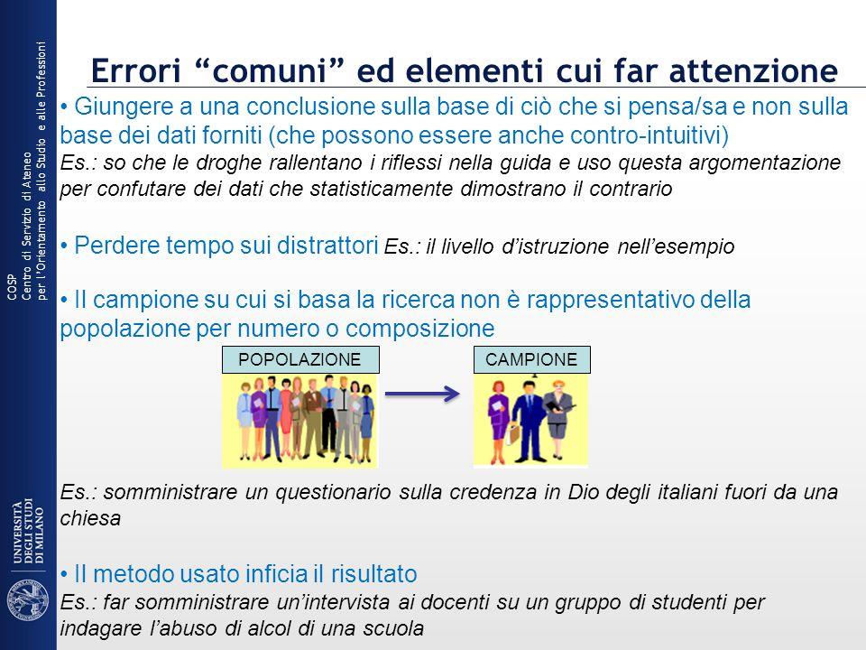 Errori comuni ed elementi cui far attenzione