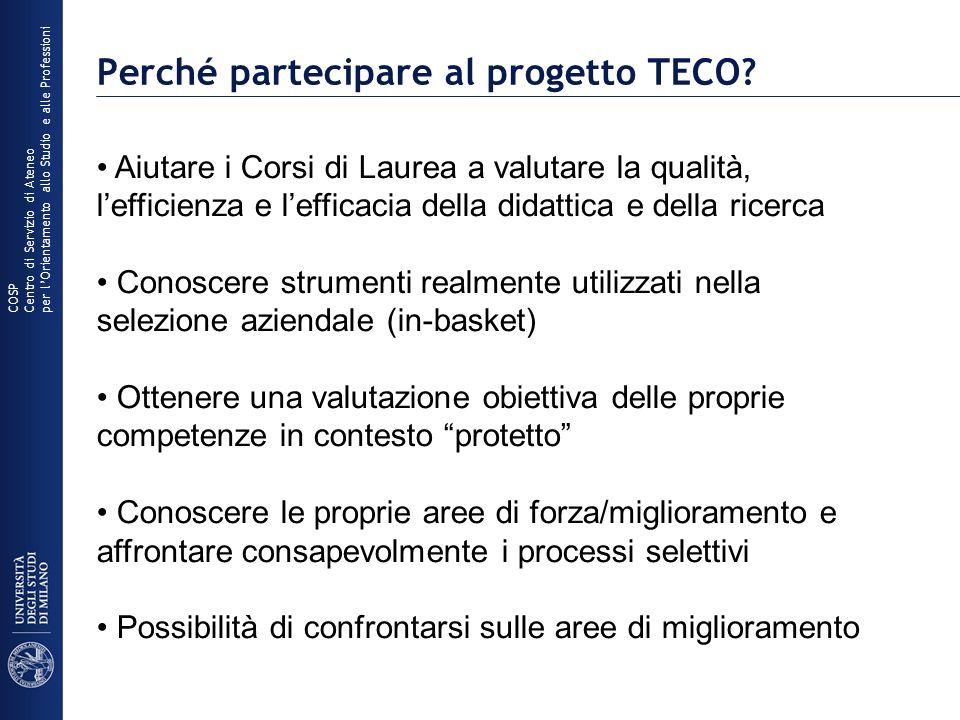 Perché partecipare al progetto TECO