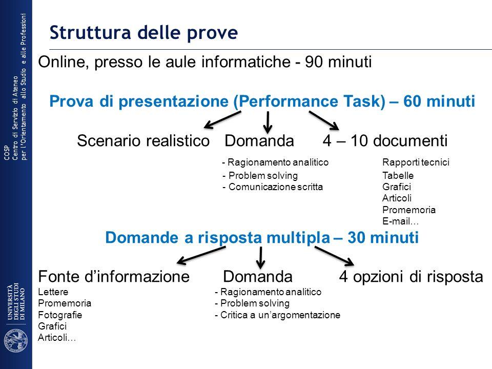 Struttura delle prove Online, presso le aule informatiche - 90 minuti