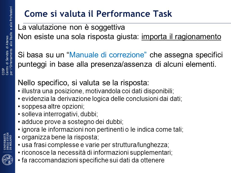 Come si valuta il Performance Task