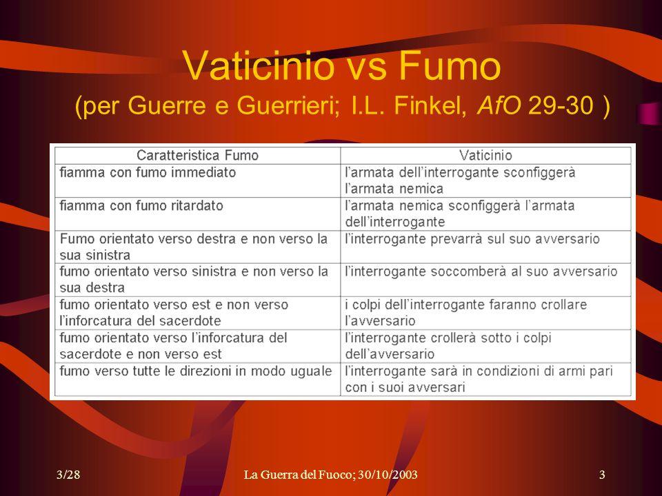 Vaticinio vs Fumo (per Guerre e Guerrieri; I.L. Finkel, AfO 29-30 )