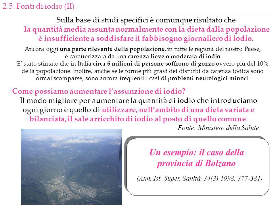 Un esempio: il caso della provincia di Bolzano