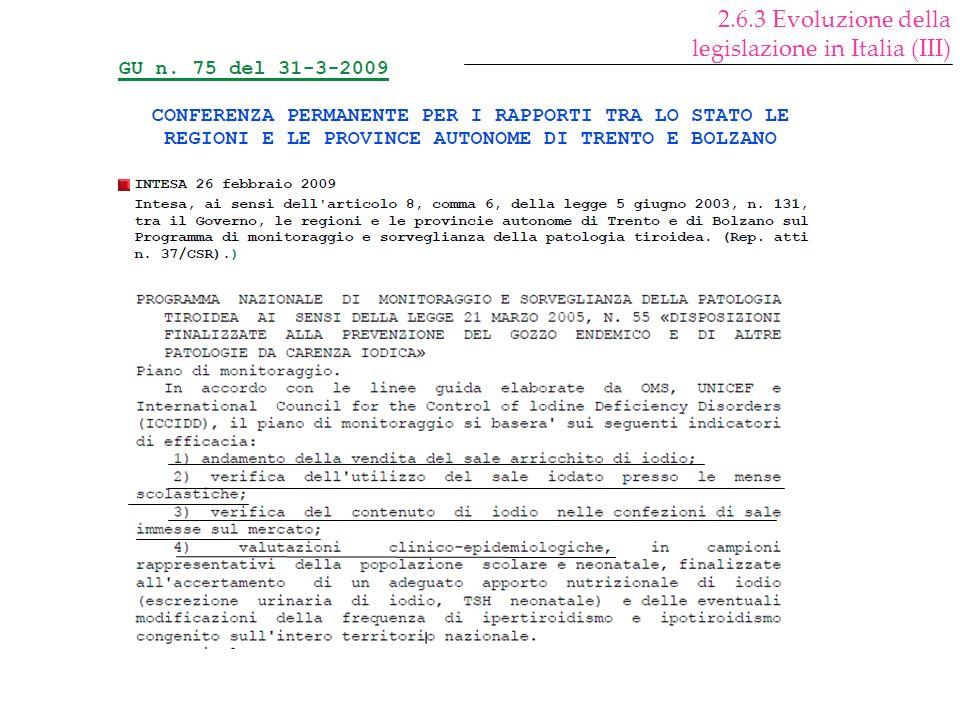 2.6.3 Evoluzione della legislazione in Italia (III)