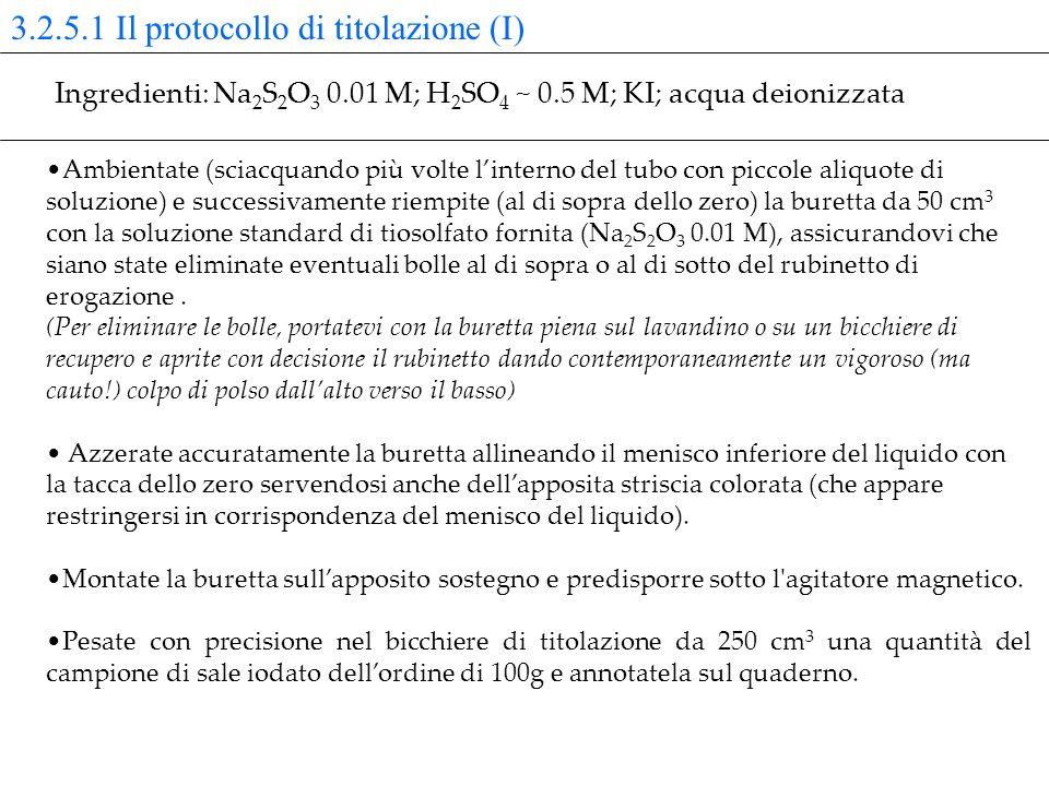 3.2.5.1 Il protocollo di titolazione (I)