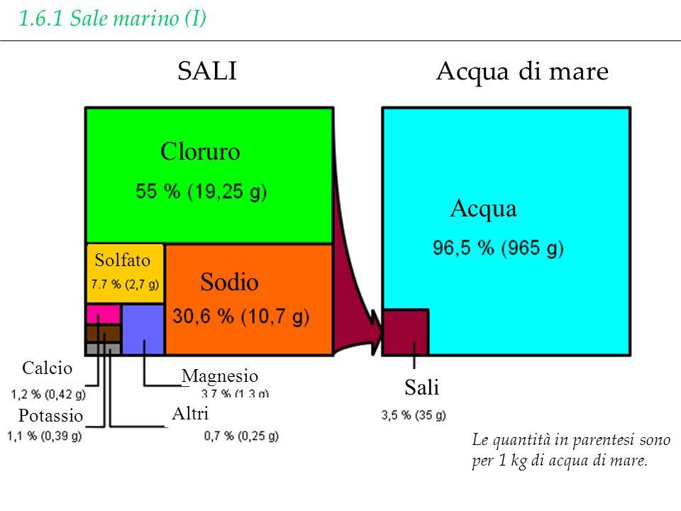 SALI Acqua di mare Acqua Cloruro Sodio 1.6.1 Sale marino (I) Sali