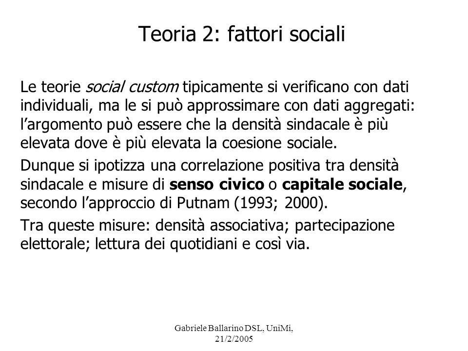 Teoria 2: fattori sociali
