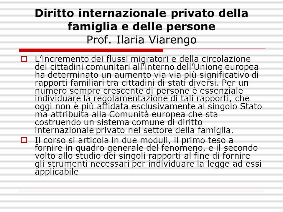 Diritto internazionale privato della famiglia e delle persone Prof