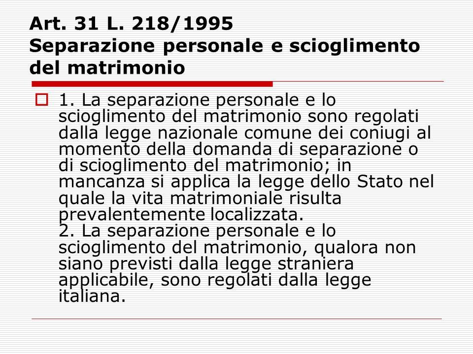 Art. 31 L. 218/1995 Separazione personale e scioglimento del matrimonio