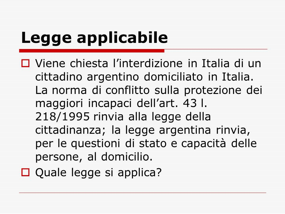 Legge applicabile