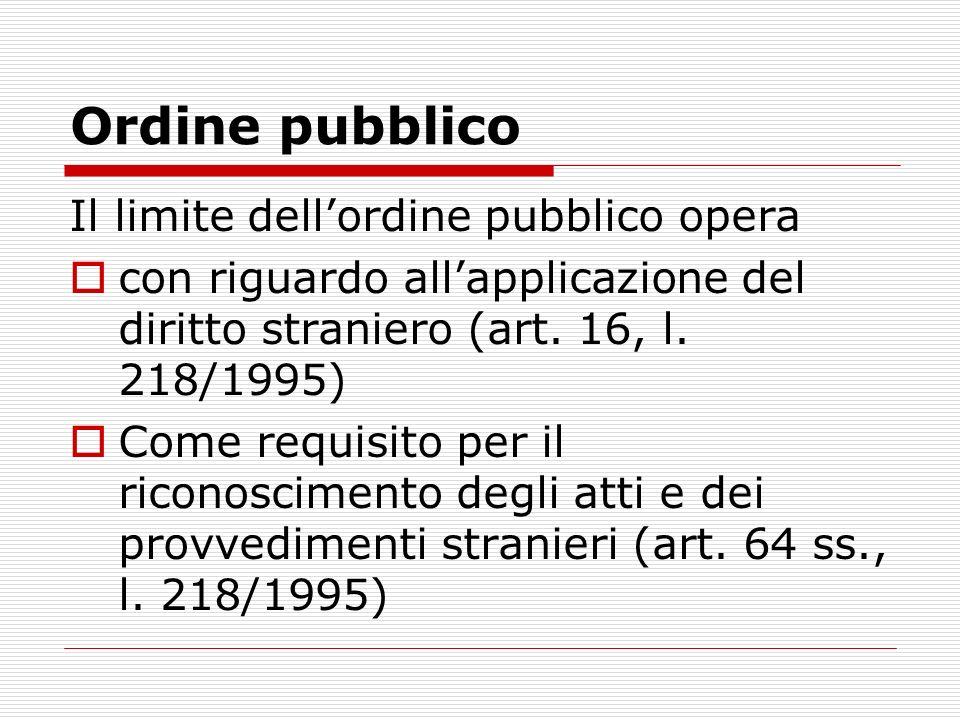 Ordine pubblico Il limite dell'ordine pubblico opera