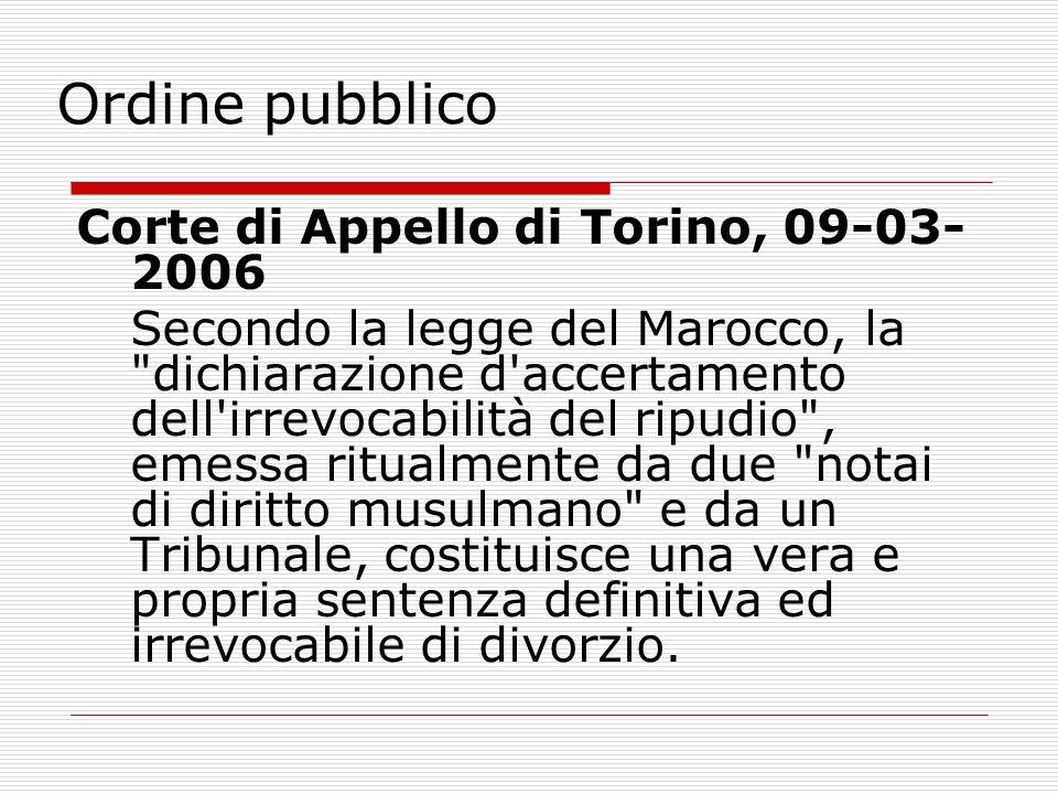 Ordine pubblico Corte di Appello di Torino, 09-03-2006