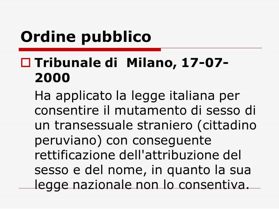 Ordine pubblico Tribunale di Milano, 17-07-2000