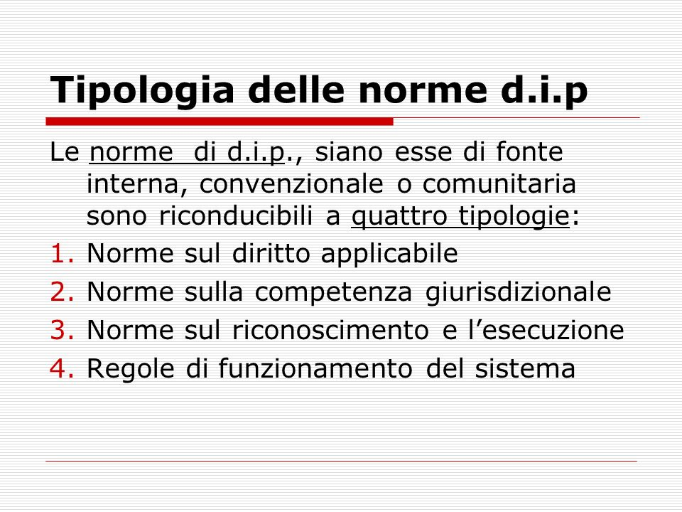 Tipologia delle norme d.i.p