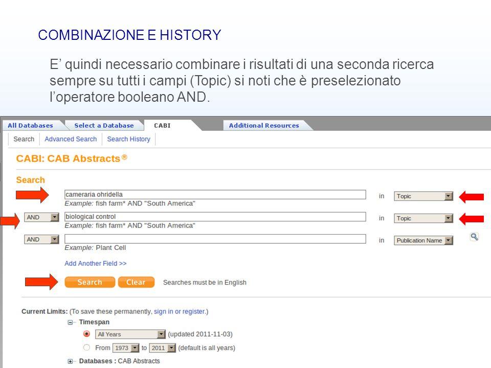 COMBINAZIONE E HISTORY