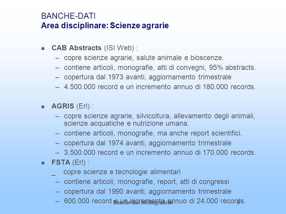 BANCHE-DATI Area disciplinare: Scienze agrarie