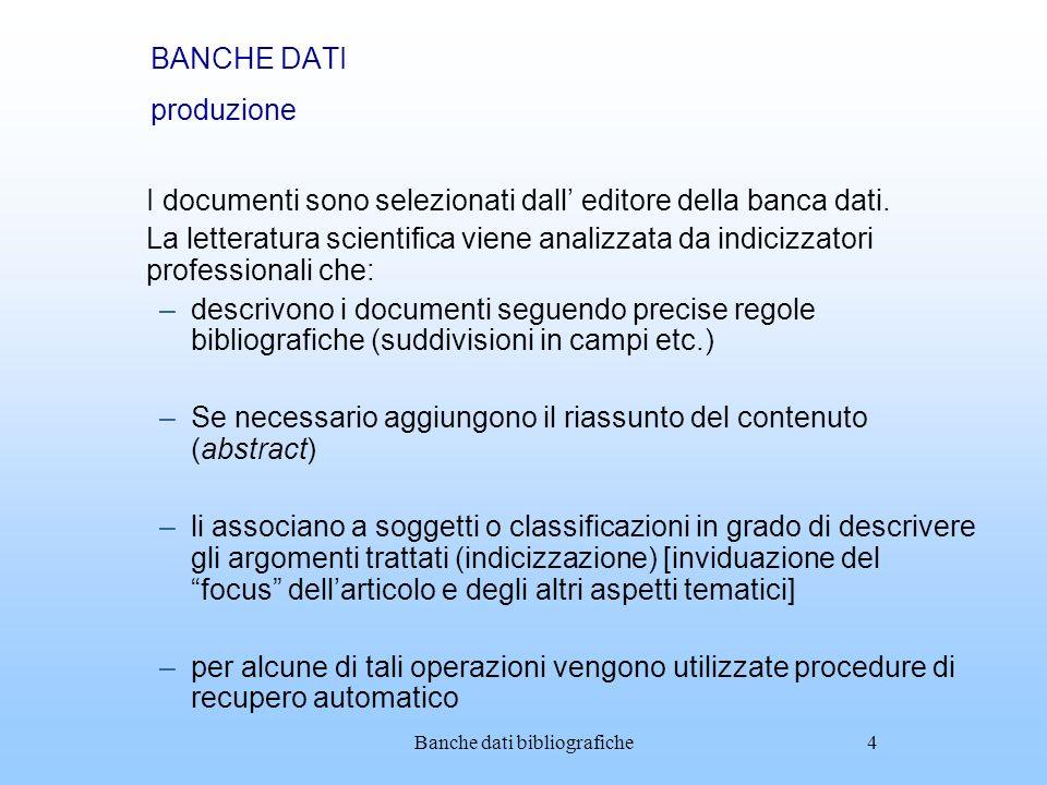 BANCHE DATI produzione