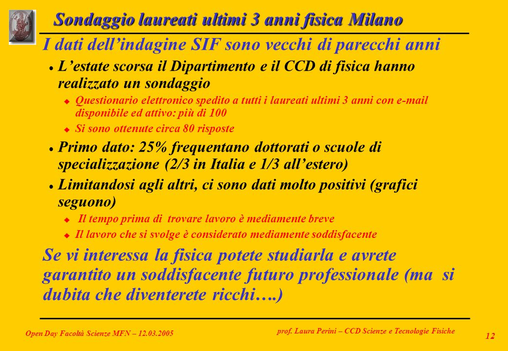 Sondaggio laureati ultimi 3 anni fisica Milano