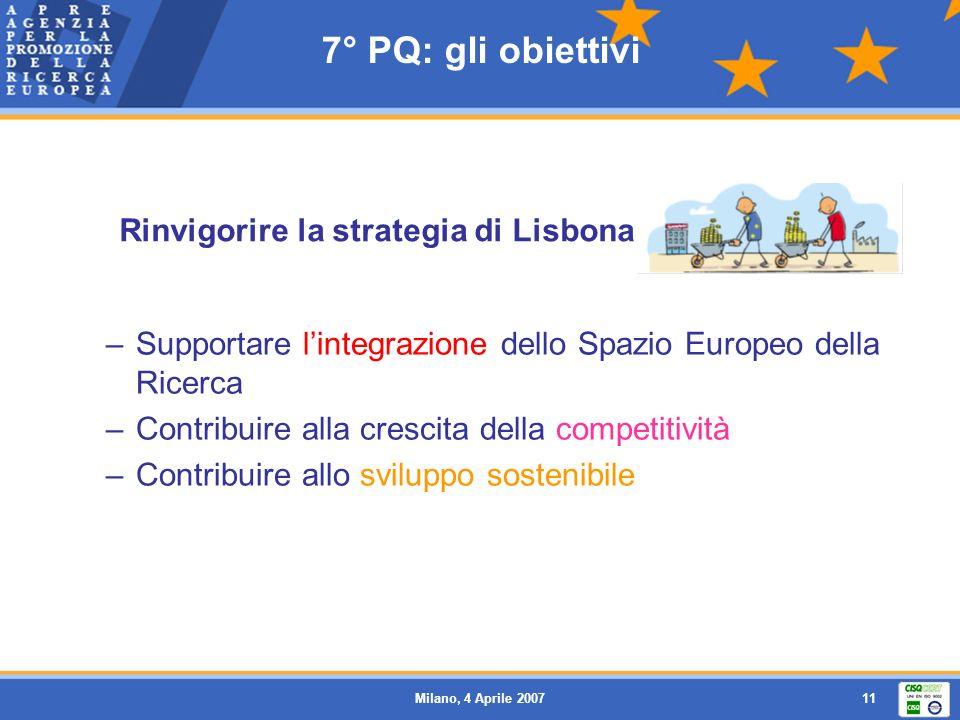 7° PQ: gli obiettivi Rinvigorire la strategia di Lisbona