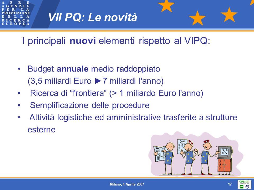 VII PQ: Le novità I principali nuovi elementi rispetto al VIPQ: