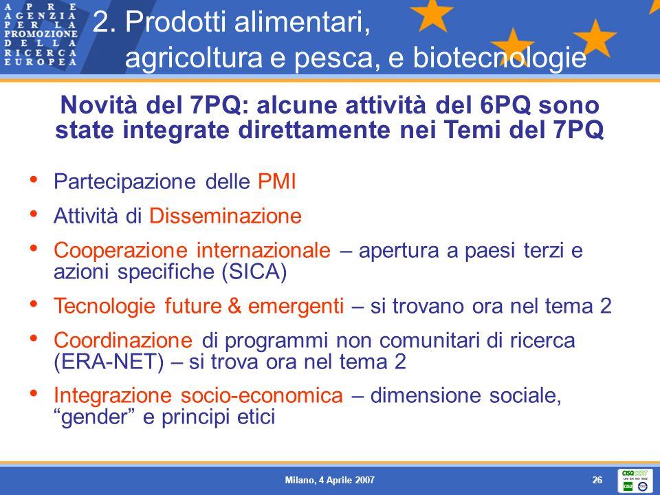 2. Prodotti alimentari, agricoltura e pesca, e biotecnologie
